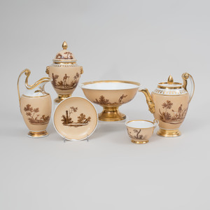 Paris Porcelain Custard-Ground Coffee Service Decorated with Sepia Hunt Scene