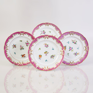 Set of Ten Popov Pink Ground Porcelain Plates
