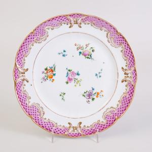 Set of Ten Popov Pink Ground Porcelain Plates
