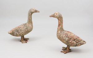 Pair of Painted Cast-Iron Models of Geese