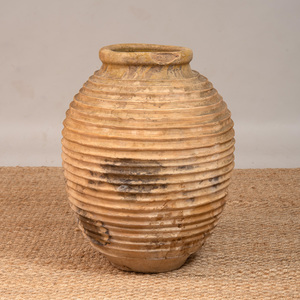 LARGE POTTERY URN WITH RIBBED DECORATION