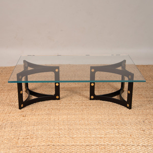 BRASS-MOUNTED EBONIZED COCKTAIL TABLE BASE WITH GLASS TOP, OF RECENT MANUFACTURE