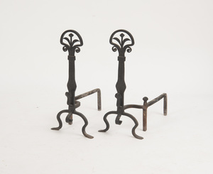 PAIR OF ARTS AND CRAFTS STYLE CAST-IRON ANDIRONS