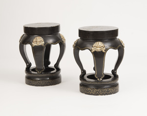 PAIR OF CHINESE BRASS-MOUNTED GILT-DECORATED LACQUER STOOLS