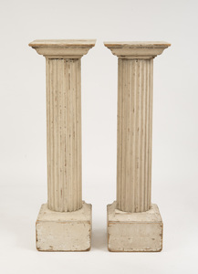 PAIR OF PAINTED FLUTED DORIC COLUMNS