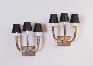 PAIR OF ART DECO STYLE CHROME, BRASS AND GLASS THREE-LIGHT SCONCES