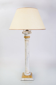 CONTINENTAL FAUX PAINTED MARBLE COLUMNAR-FORM TABLE LAMP