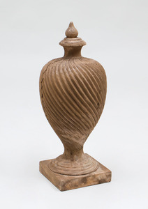 NEOCLASSICAL STYLE LARGE CARVED SPIRAL TWIST WOOD COVERED URN