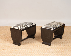 PAIR OF ART DECO EBONIZED OAK BENCHES