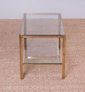 JACQUES QUINET BRONZE AND GLASS TWO-TIERED COCKTAIL TABLE FOR MAISON MALABERT