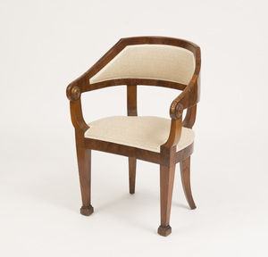 BIEDERMEIER STYLE BLACK WALNUT ARMCHAIR
