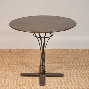 LACQUERED STEEL CAFÉ TABLE, OF RECENT MANUFACTURE