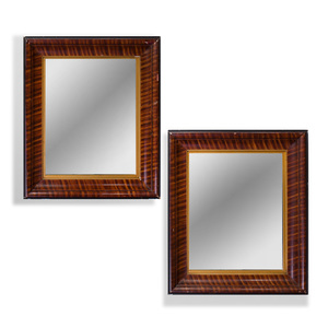 Pair of American Faux Grained Wood Mirrors