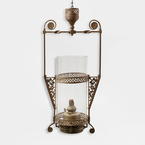 Aesthetic Movement Brass Lantern with Glass Shade