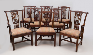 Set of Six George III Carved Mahogany Dining Chairs and Two Armchairs of Later Date