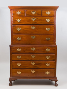Chippendale Mahogany Flat-Top Chest on Chest, New York