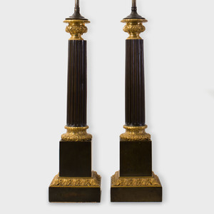 Pair of Neoclassical Style Gilt-Patinated Bronze Columnar Lamp