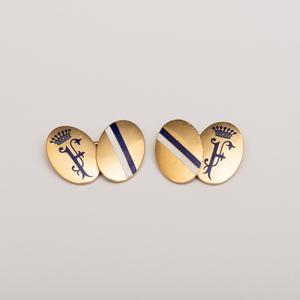 Pair of 14k Gold and Enamel Cufflinks