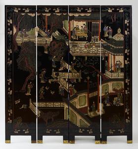CHINESE COROMANDEL FOUR-FOLD SCREEN, 20TH CENTURY