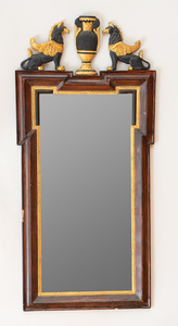 PAIR OF ITALIAN NEOCLASSICAL FAUX BOIS, EBONIZED AND PARCEL-GILT MIRRORS