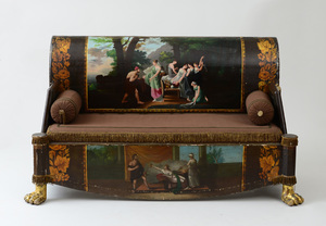 ITALIAN NEOCLASSICAL PAINTED AND PARCEL-GILT SOFA