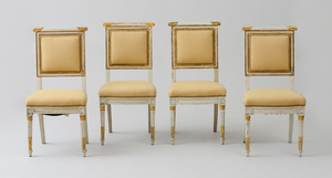 SET OF FOUR SWEDISH NEOCLASSICAL PAINTED AND PARCEL-GILT SIDE CHAIRS