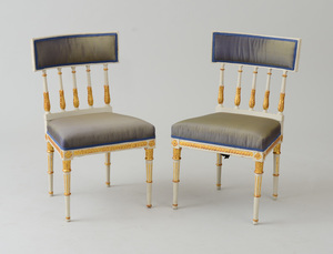 PAIR OF SWEDISH NEOCLASSICAL PAINTED AND PARCEL-GILT SIDE CHAIRS