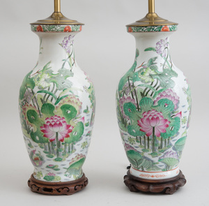 TWO SIMILAR CHINESE FAMILLE ROSE STYLE PORCELAIN BALUSTER-FORM VASES, MOUNTED AS LAMPS