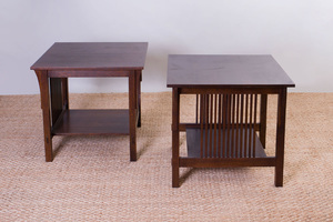 Pair of Stickley Oak Side Tables, of Recent Manufacture