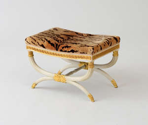 REGENCY STYLE PAINTED AND PARCEL-GILT STOOL