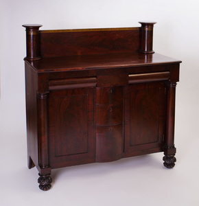 American Classical Mahogany and Stencil Decorated Sideboard