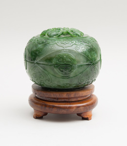 CHINESE CARVED SPINACH GREEN JADE FLATTENED SPHERICAL BOWL AND COVER