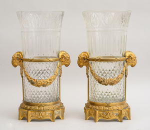 PAIR OF LOUIS XVI STYLE GILT-BRONZE-MOUNTED CUT-GLASS LARGE VASES, PROBABLY BACCARAT