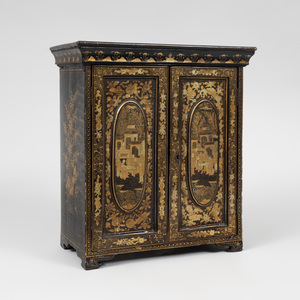 Chinese Export Black Lacquer and Parcel-Gilt Specimen Cabinet
