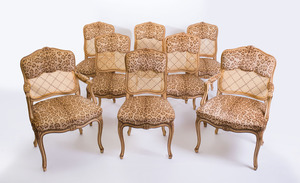 SET OF EIGHT LOUIS XV STYLE PAINTED AND CANED DINING CHAIRS