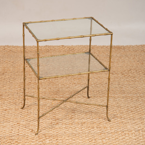 BAGUES STYLE GILT-METAL FAUX BAMBOO AND GLASS TWO-TIERED TABLE
