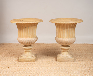PAIR OF LARGE NEOCLASSICAL STYLE PAINTED CAST-IRON FLUTED CAMPANA-FORM URNS