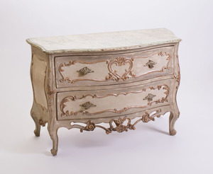 NORTHERN ITALIAN ROCOCO STYLE CARVED, PAINTED AND SILVERED-WOOD COMMODE