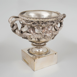 English Silver Plate Model of the Warwick Vase