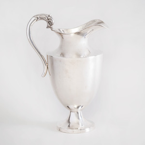 Mexican Silver Helmet Shaped Pitcher with Dolphin Head Handle