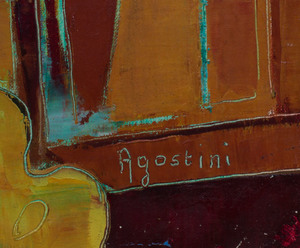 Tony Agostini (1916-1990): Studio Easel with Landscape