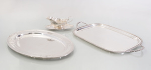 Gorham Silver Tray in the 'Princess Patricia' Pattern, a Gorham Silver Sauce Boat and Stand in the 'Chippendale' Pattern, and a Durham Silver Tray