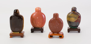 Four Chinese Carved Hard Stone Snuff Bottles