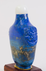 Group of Four Chinese Lapis Lazuli Snuff Bottles and a Sodalite Snuff Bottle