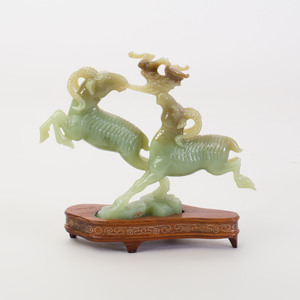 Chinese Carved Jade Group of Two Leaping Rams