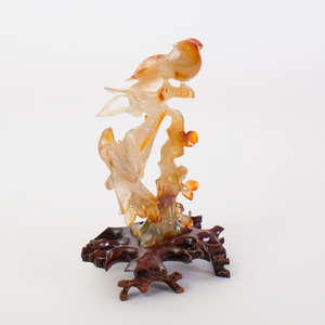 Chinese Agate Carving of Birds in Branches