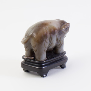 Chinese Carved Jade Model of an Elephant