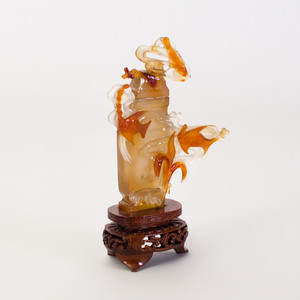 Chinese Carved Carnelian Vase and Cover
