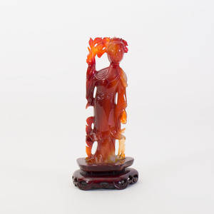 Chinese Carved Agate Figure of a Beauty with a Flower