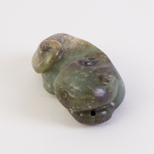Chinese Carved Jade Figure of a Recumbent Cat